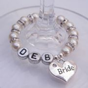 Bride Personalised Wine Glass Charm - Full Sparkle Style